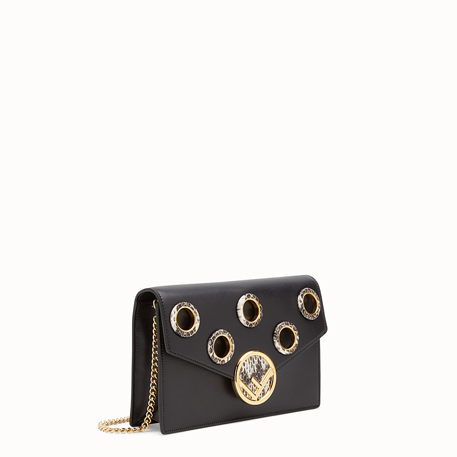 FENDI WALLET ON CHAIN - Balck leather mini-bag with exotics details - view 2 detail