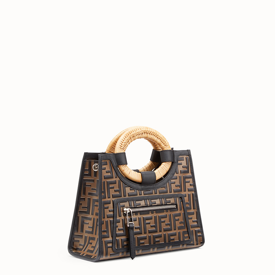 FENDI RUNAWAY SHOPPER - Brown leather small shopper - view 2 detail