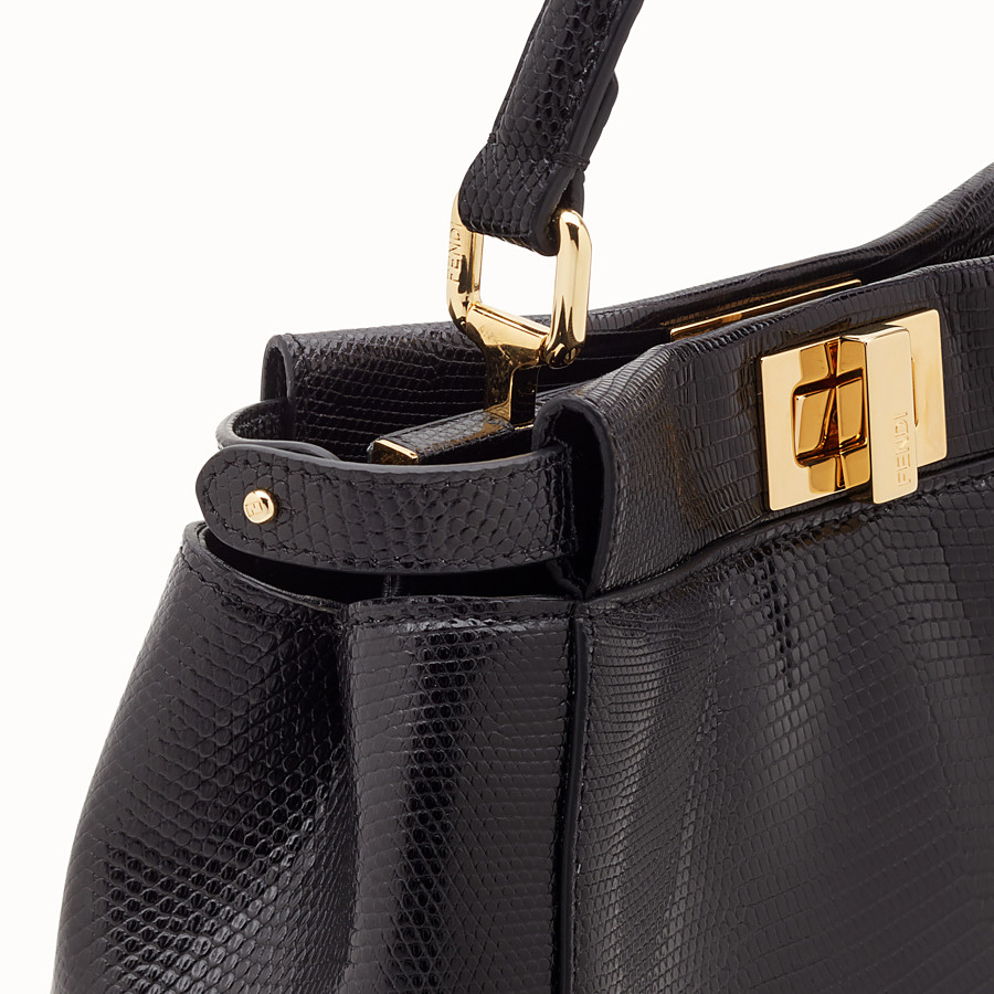 FENDI PEEKABOO MINI - Black lizard bag - view 6 detail