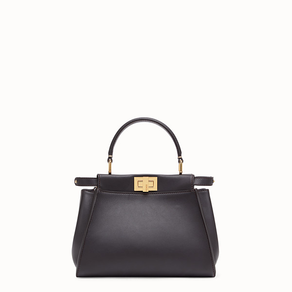 FENDI PEEKABOO ICONIC MINI - Borsa in pelle marrone - vista 1 thumbnail piccola