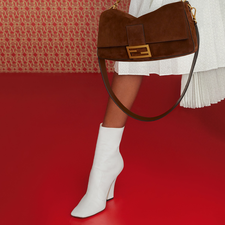 FENDI BAGUETTE LARGE - Brown suede bag - view 7 detail