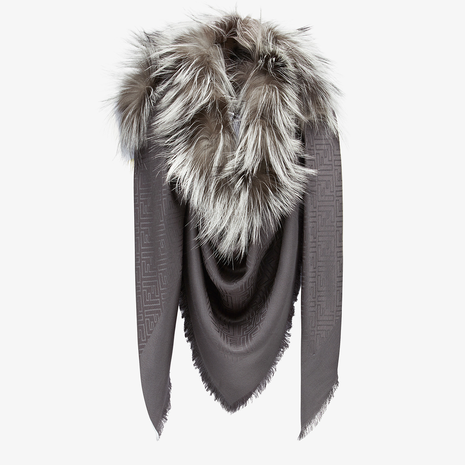 FENDI TOUCH OF FUR SHAWL - Grey silk and wool shawl - view 2 detail