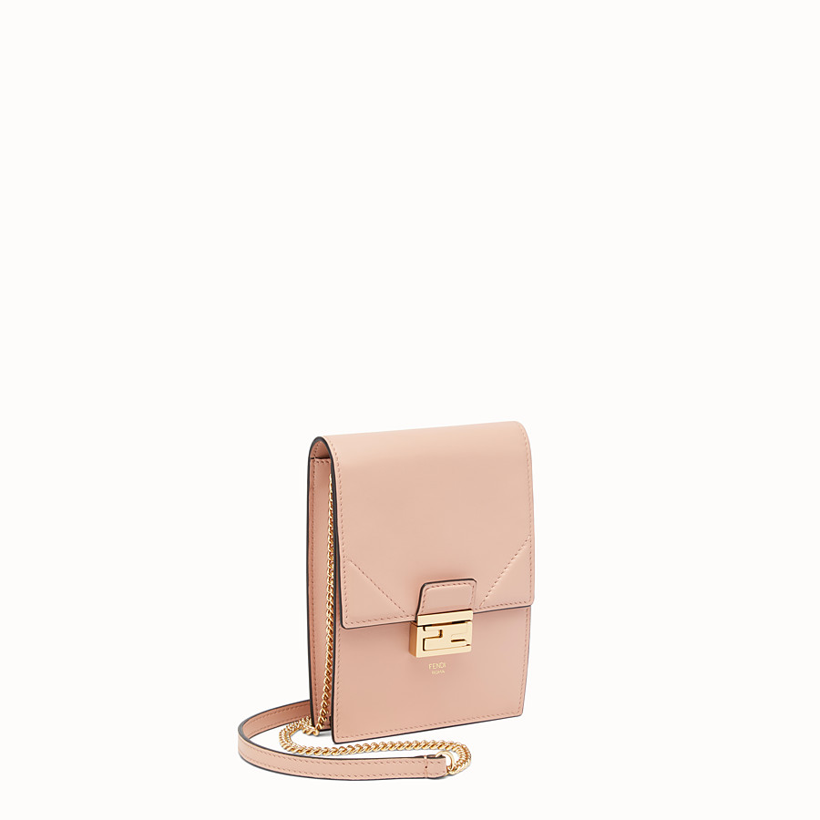 FENDI VERTICAL WALLET ON CHAIN KAN U - Beige leather mini-bag - view 2 detail