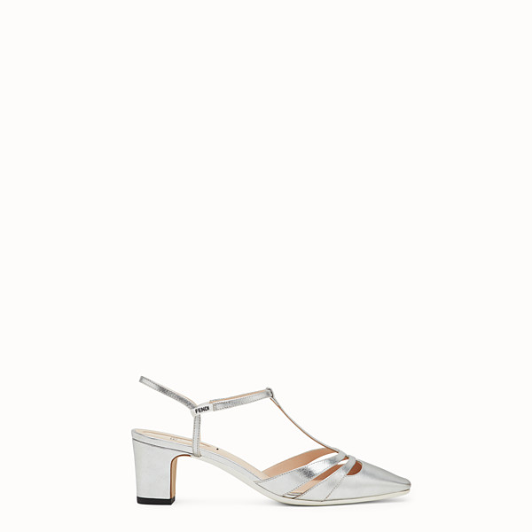FENDI SANDALS - Sandals in metallised silver leather - view 1 small thumbnail