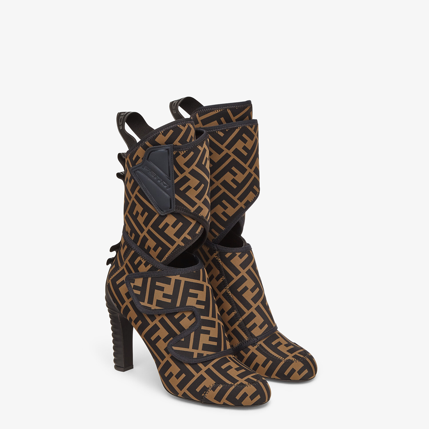 FENDI ANKLE BOOTS - Brown fabric Promenade Booties - view 4 detail