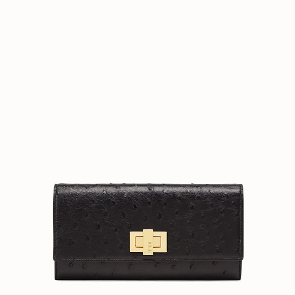 FENDI CONTINENTAL - Black ostrich leather wallet - view 1 small thumbnail