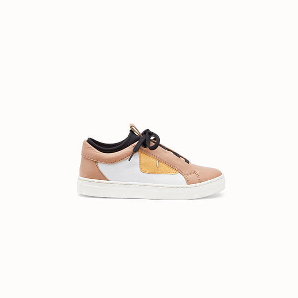 FENDI SNEAKERS - Hazelnut and white leather sneakers - view 1 small thumbnail