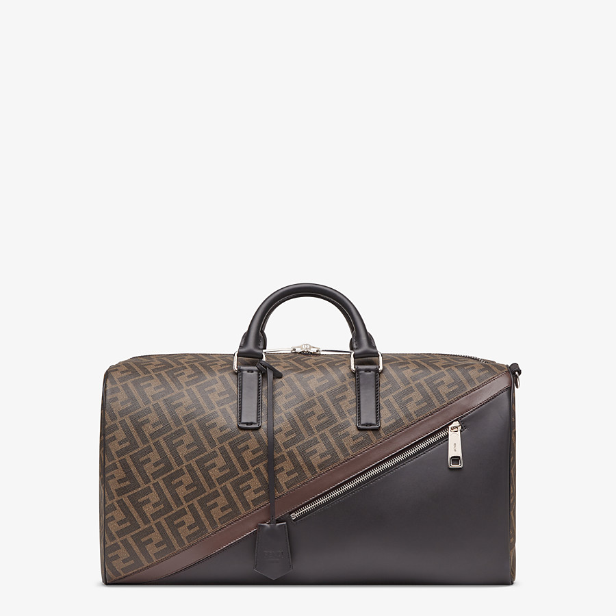 FENDI MEDIUM DUFFLE - Large brown fabric bag - view 1 detail