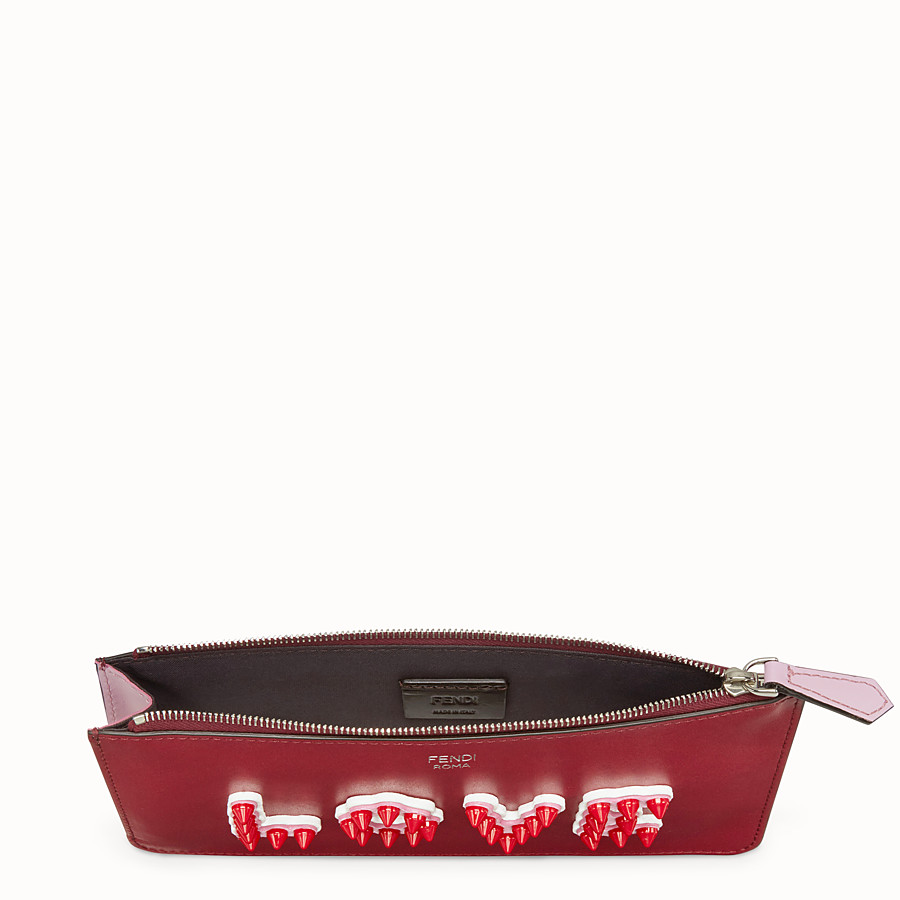 FENDI FLAT CLUTCH - Red leather pouch - view 4 detail
