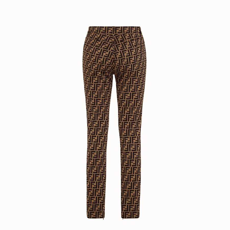 FENDI TROUSERS - Brown cotton jersey trousers - view 2 detail