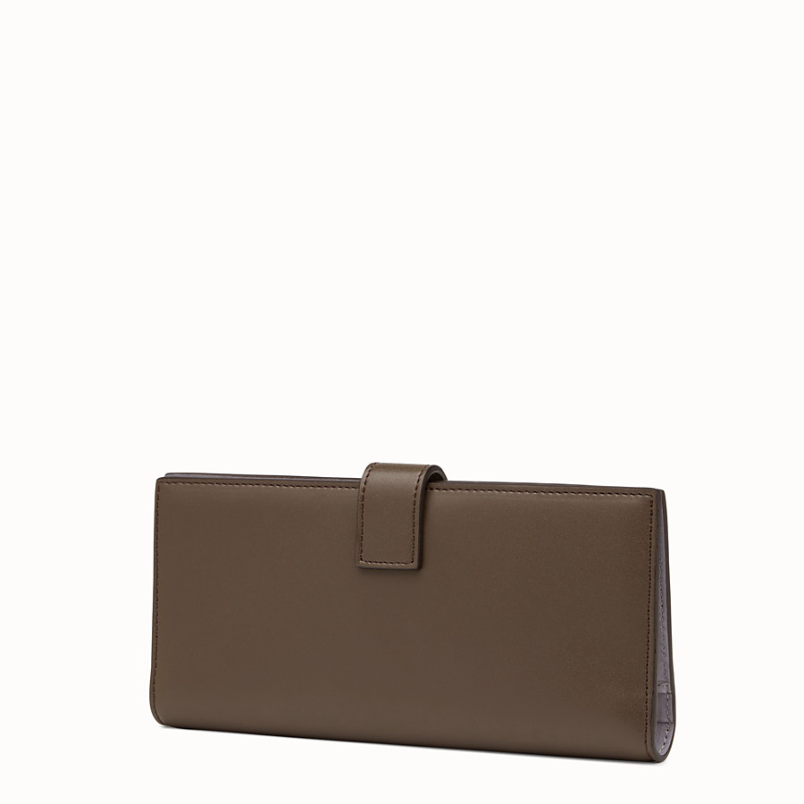 FENDI WALLET - Continental wallet in chocolate-coloured leather - view 2 detail