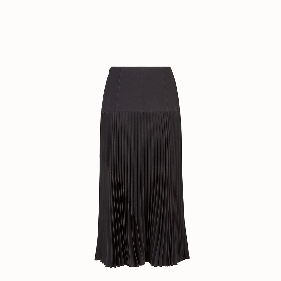 FENDI SKIRT - Black silk skirt - view 2 detail