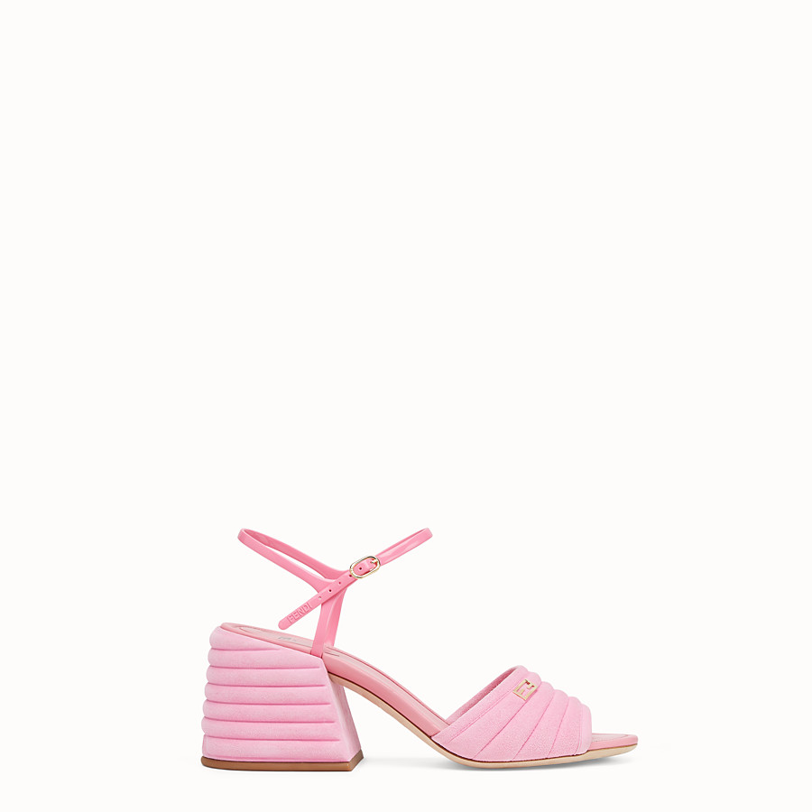 FENDI SLINGBACK - Pink suede sandals - view 1 detail