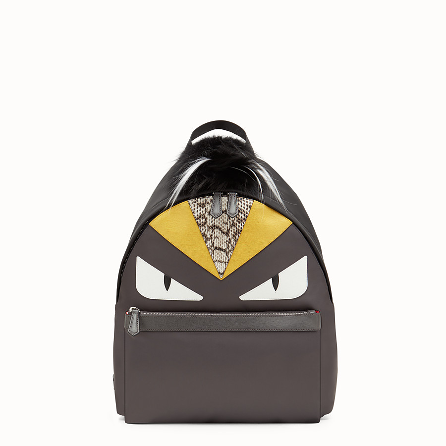 FENDI BACKPACK - in nylon and gray leather with inlays - view 1 detail