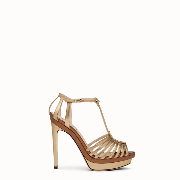 FENDI SANDALS - in champagne leather with platform sole - view 1 small thumbnail