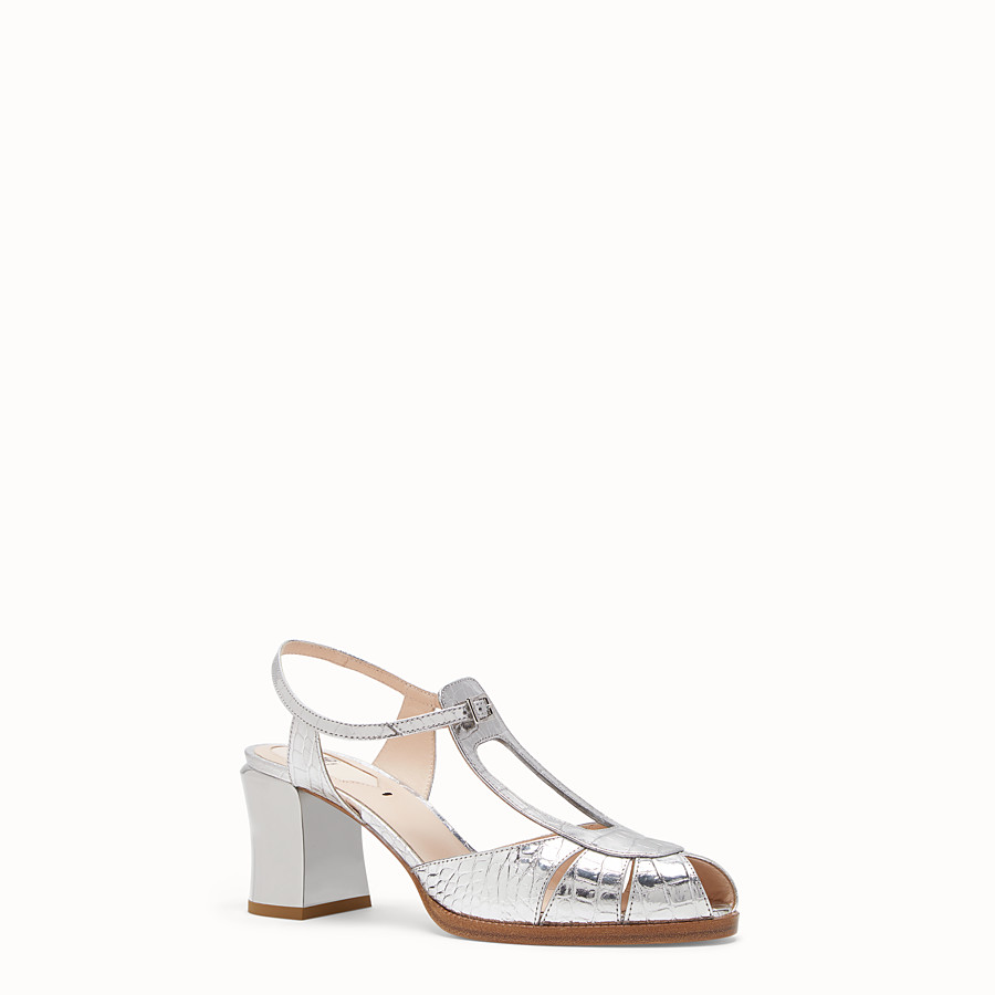 FENDI SANDALS - Silver leather sandals - view 2 detail