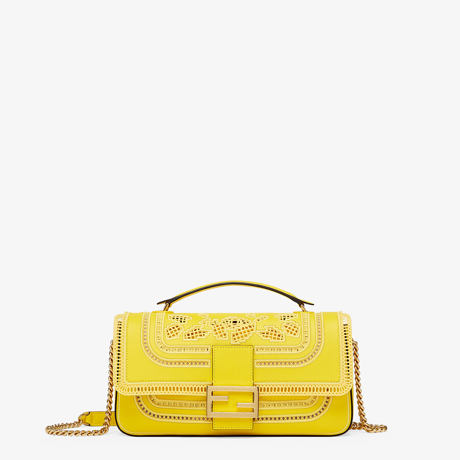 FENDI BAGUETTE CHAIN - Embroidered yellow leather bag - view 1 detail
