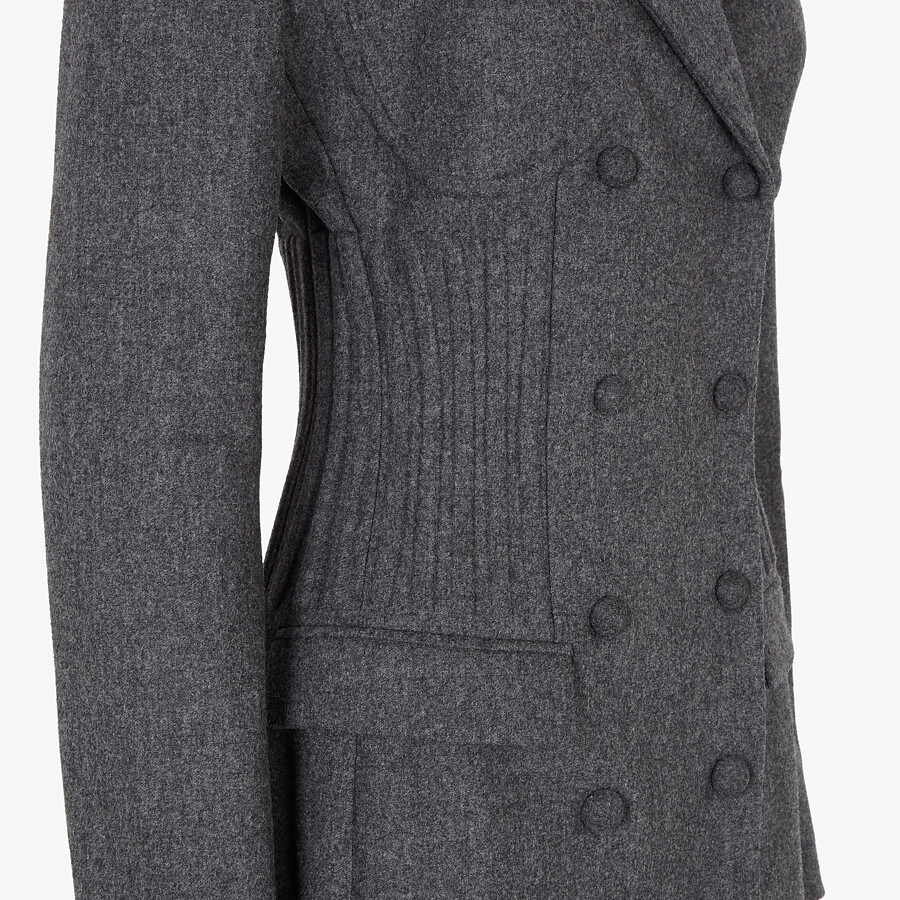 FENDI COAT - Grey cashmere coat - view 3 detail