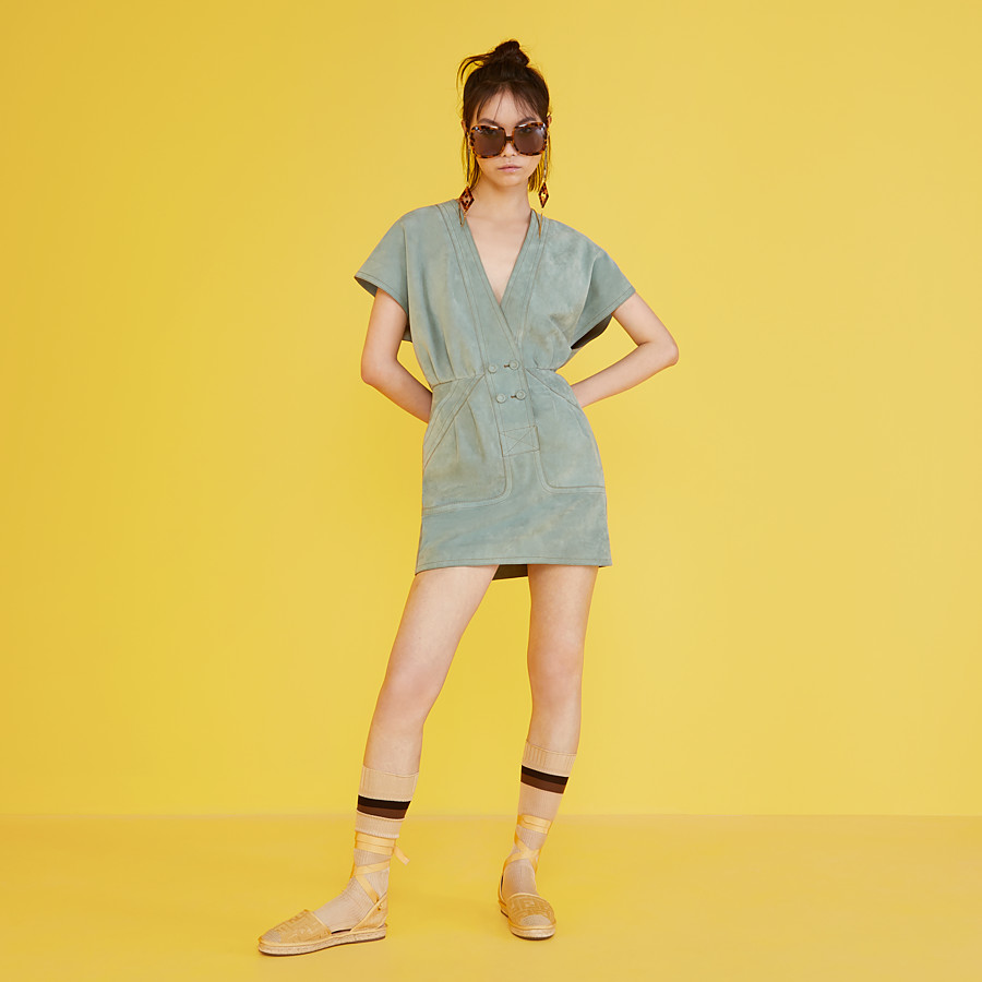 FENDI DRESS - Light blue suede dress - view 4 detail
