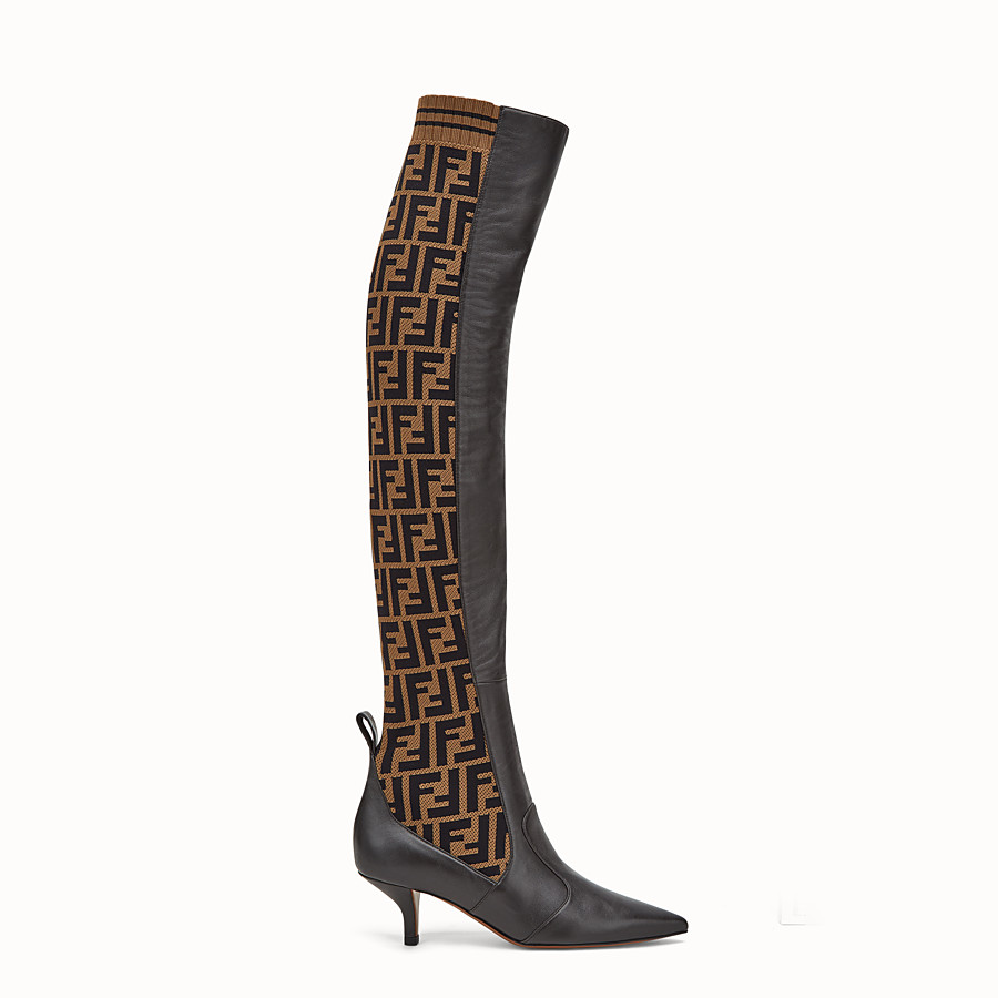 FENDI BOOTS - Brown leather thigh-high boots - view 1 detail