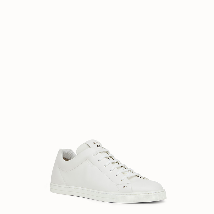 FENDI SNEAKER - white leather lace-ups - view 2 detail