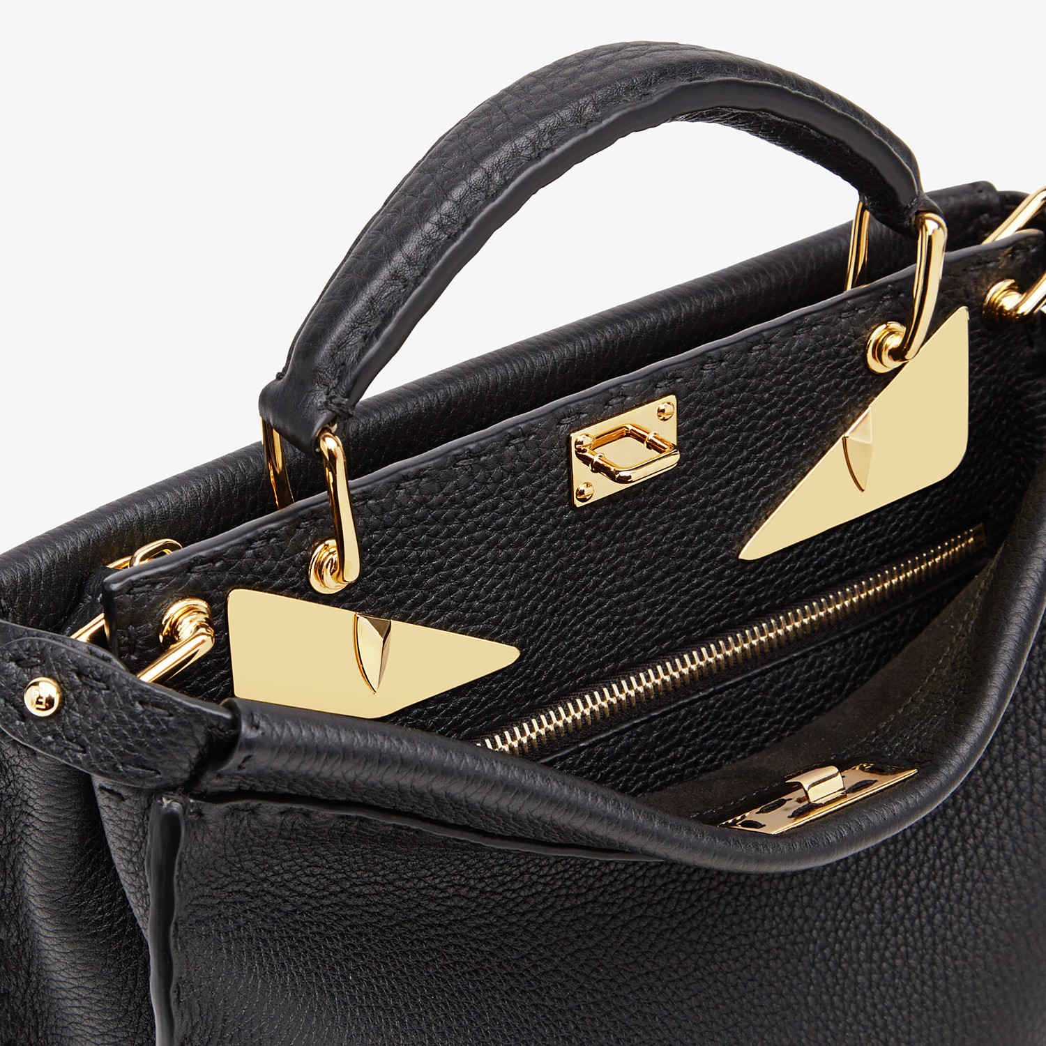FENDI PEEKABOO ICONIC FIT MINI - Black leather bag - view 5 detail