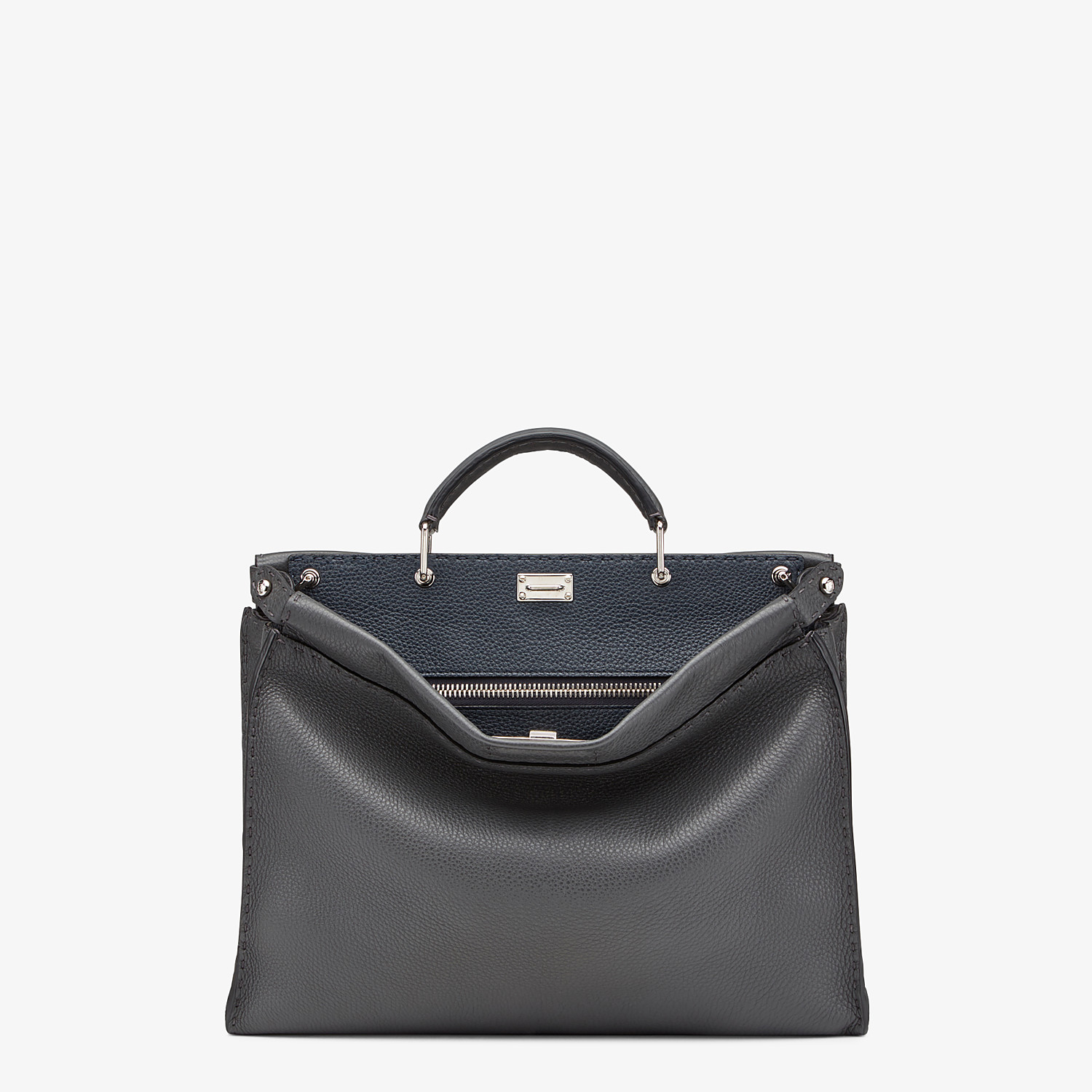 FENDI PEEKABOO ICONIC FIT - Grey leather Selleria bag - view 1 detail