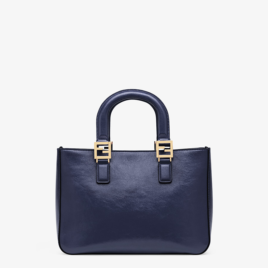 FENDI FF TOTE SMALL - Blue leather bag - view 4 detail