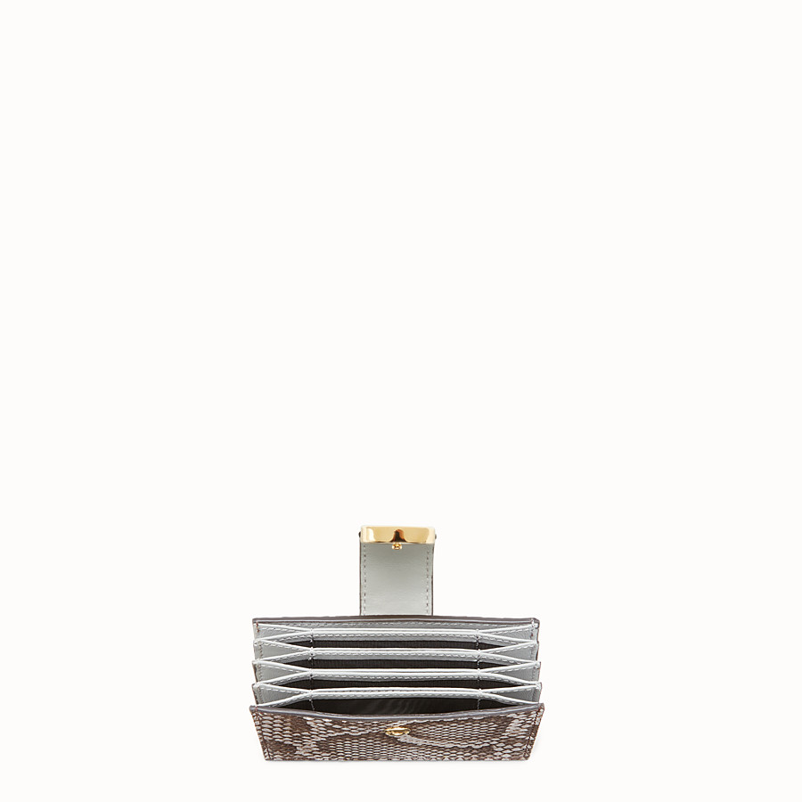 FENDI CARD HOLDER - Grey python gusseted card holder - view 4 detail