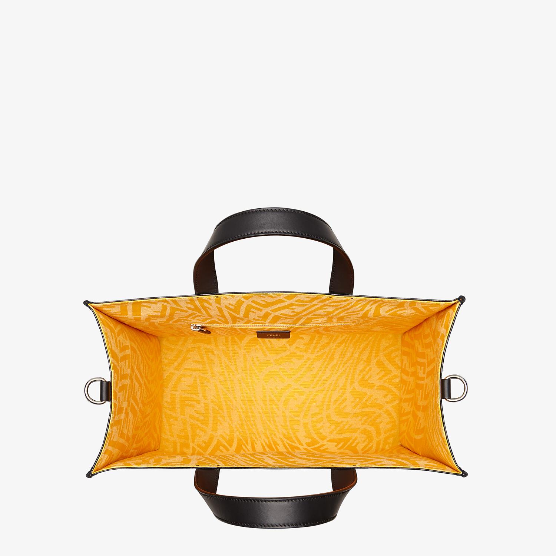 FENDI SHOPPER - Black glazed canvas bag - view 4 detail
