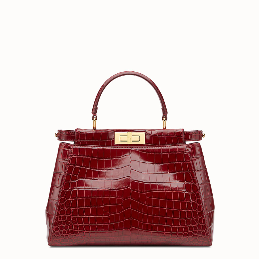 FENDI PEEKABOO REGULAR - Red crocodile leather handbag. - view 1 detail