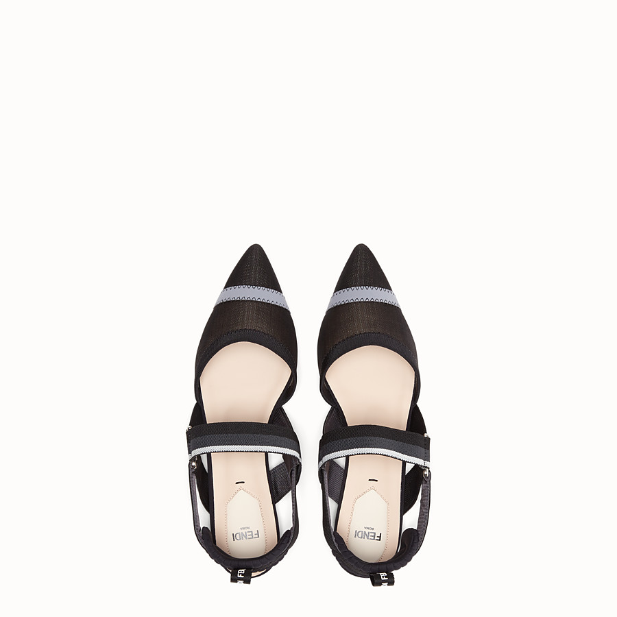 FENDI SLINGBACKS - Black mesh sabots - view 4 detail