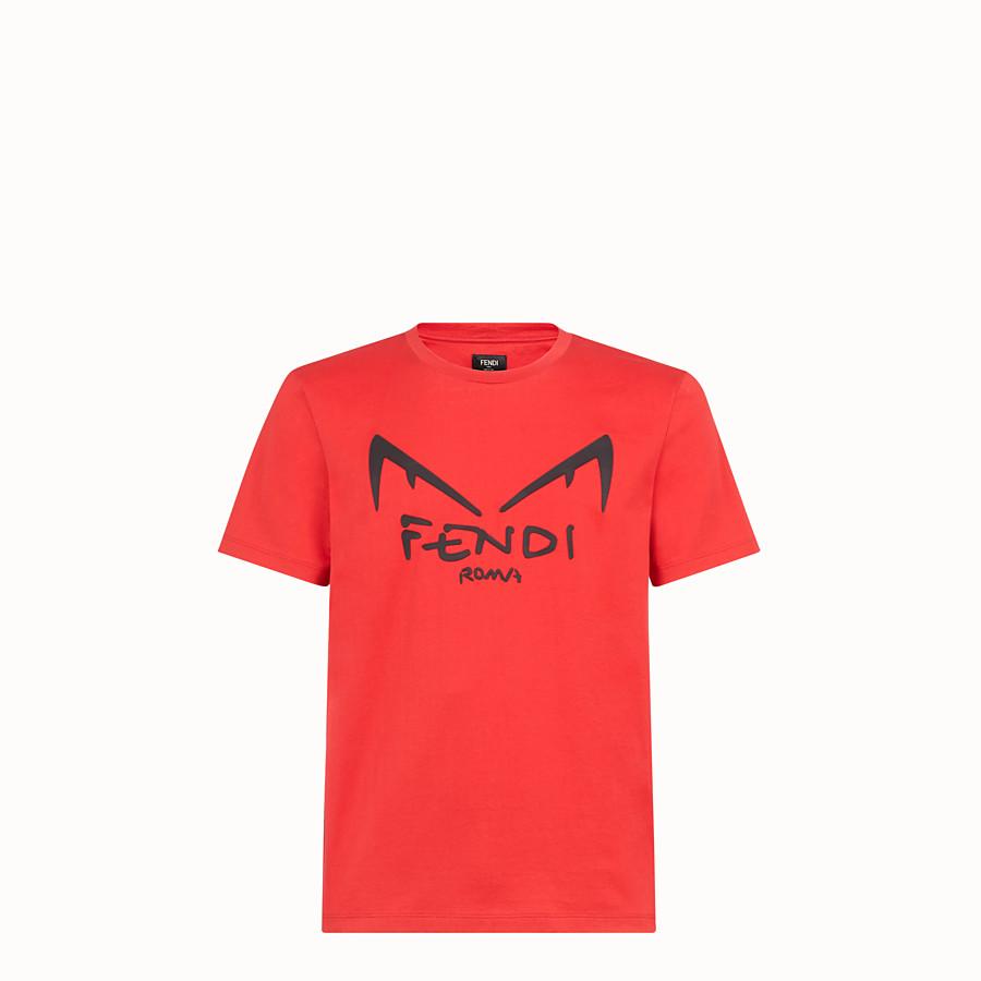FENDI T-SHIRT - Red cotton jersey T-shirt - view 1 detail