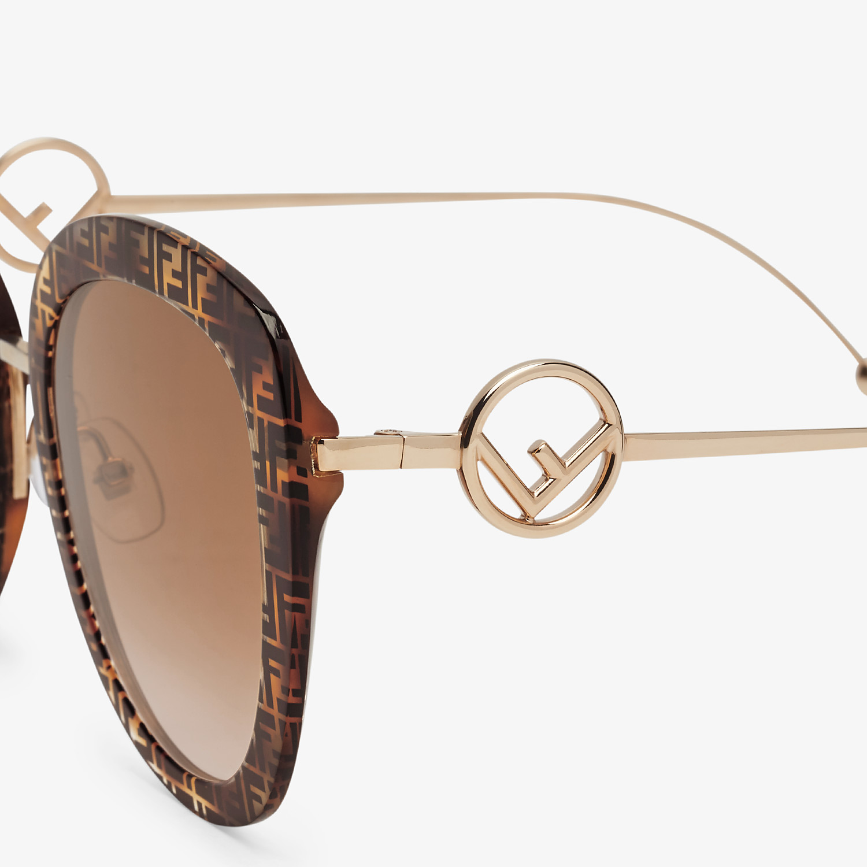 FENDI F IS FENDI - FF Havana acetate and metal sunglasses - view 3 detail