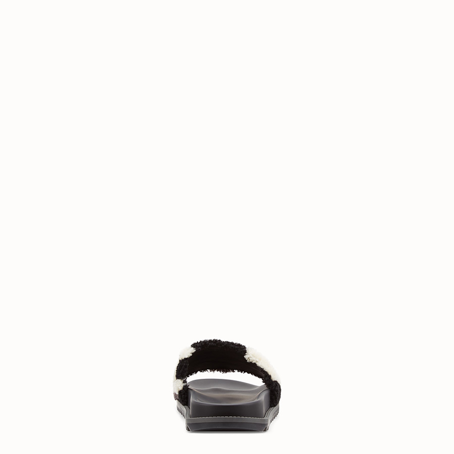 FENDI SLIDES - Black sheepskin slides - view 3 detail