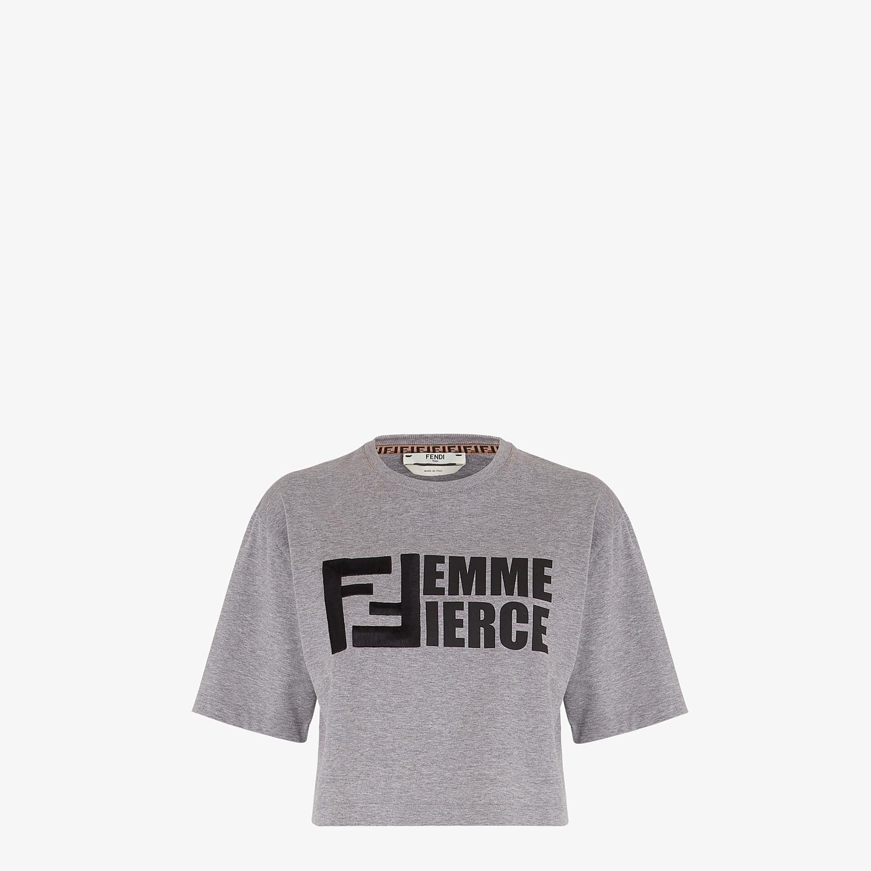 FENDI T-SHIRT - Gray cotton T-shirt - view 1 detail