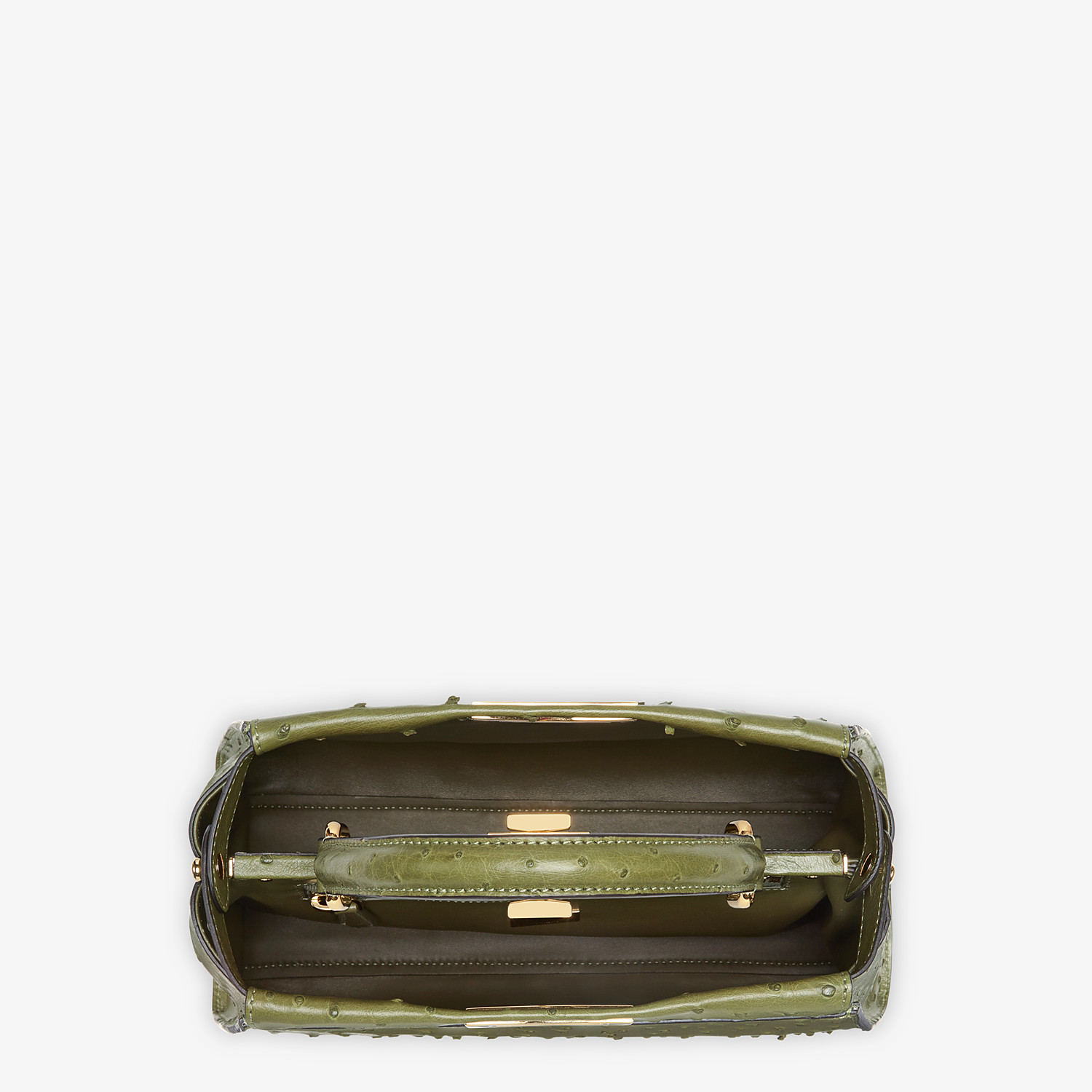 FENDI PEEKABOO ICONIC MEDIUM - Green ostrich leather bag - view 4 detail