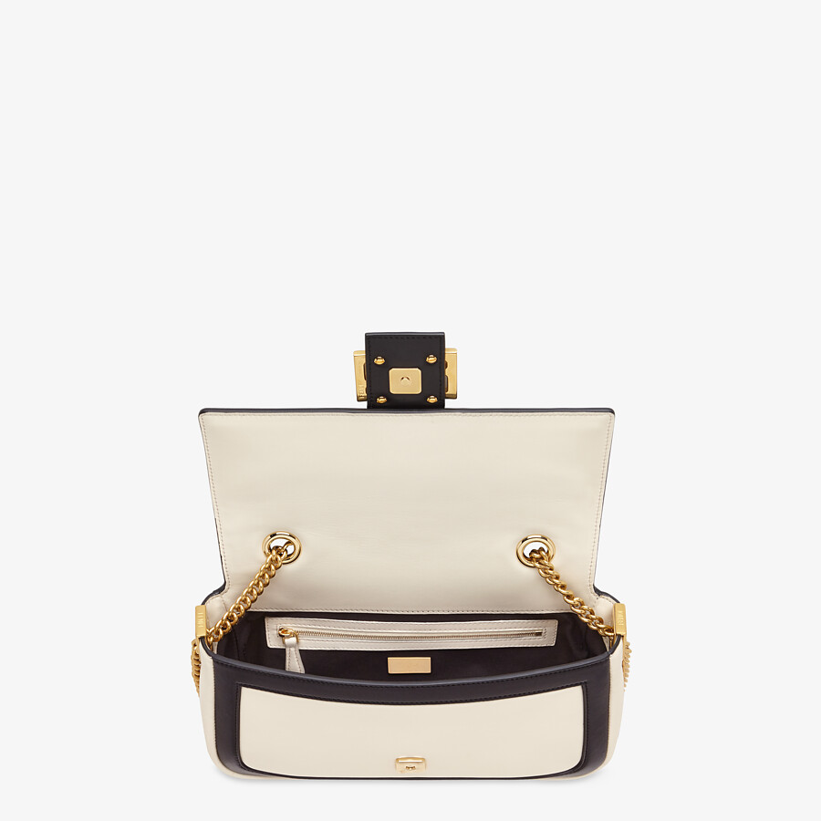 FENDI BAGUETTE CHAIN - Black and white nappa leather bag - view 5 detail