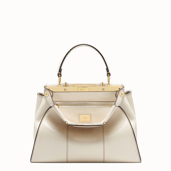 FENDI PEEKABOO ICONIC MEDIUM - White leather bag - view 1 small thumbnail