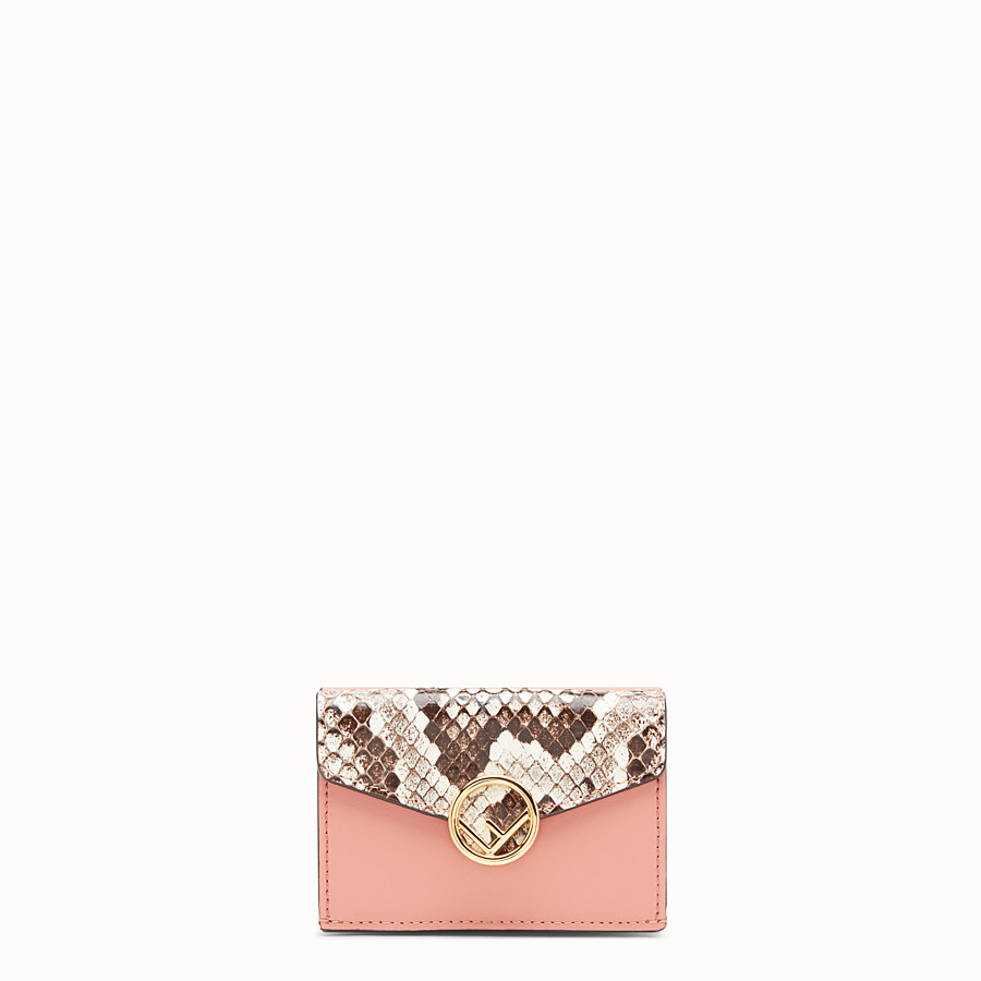 FENDI MICRO TRIFOLD - Pink leather wallet with exotic details - view 1 detail