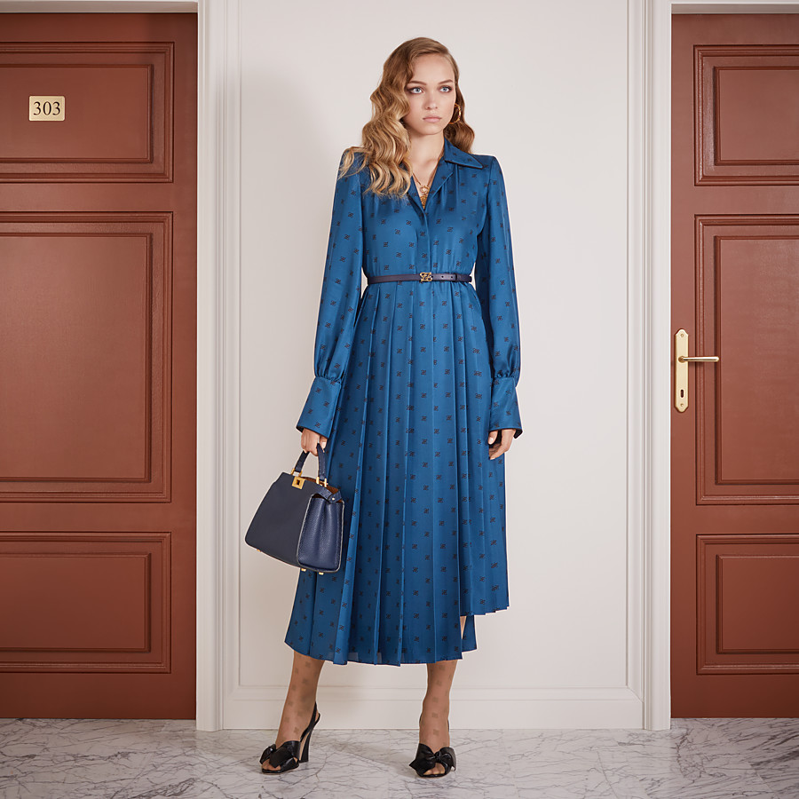 FENDI DRESS - Blue silk dress - view 4 detail