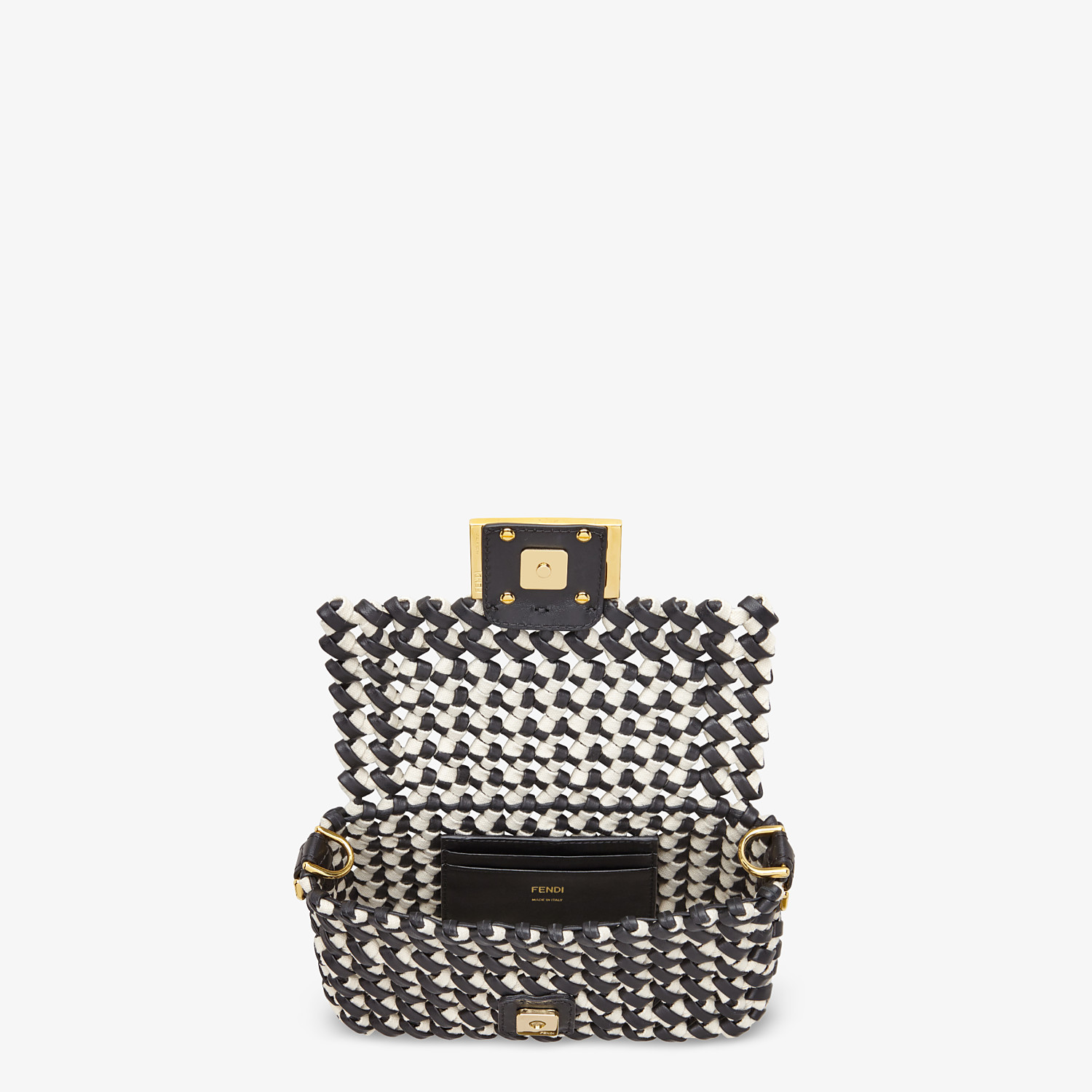FENDI BAGUETTE - Leather and canvas interlace bag - view 5 detail