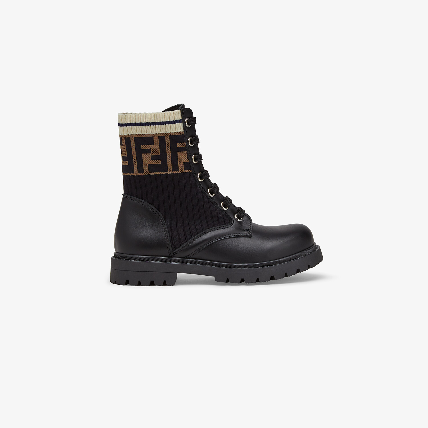 FENDI BIKER BOOTS - Unisex junior biker boots in leather and fabric - view 1 detail