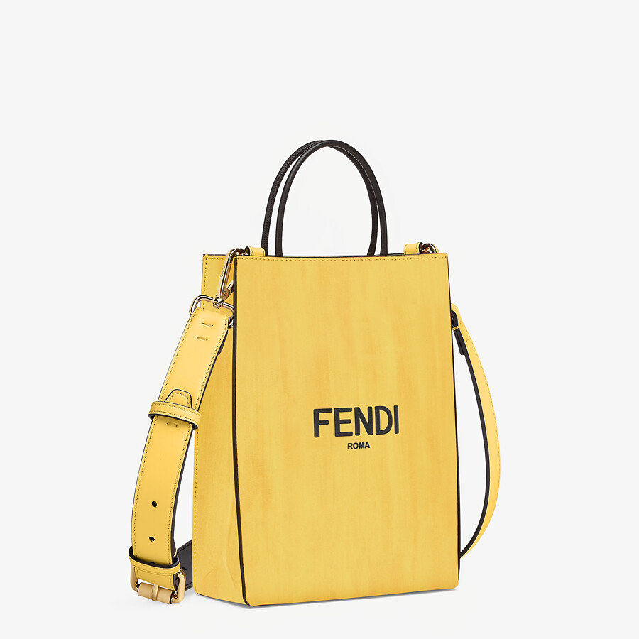 FENDI FENDI PACK SMALL SHOPPING BAG - Yellow leather bag - view 2 detail
