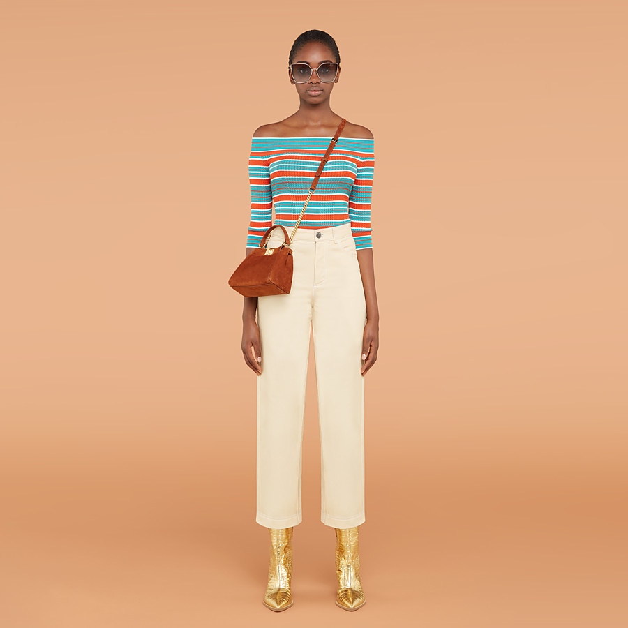 FENDI TROUSERS - Beige cotton trousers - view 4 detail
