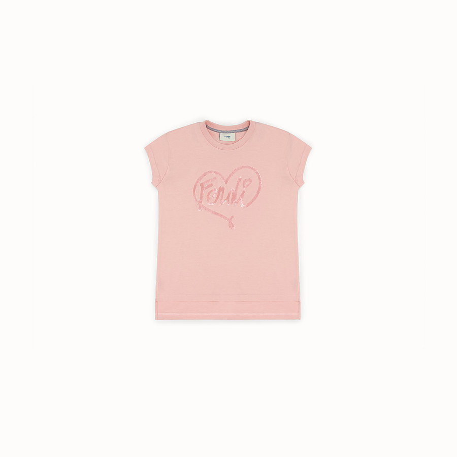FENDI T-SHIRT - Pink cotton T-shirt - view 1 detail