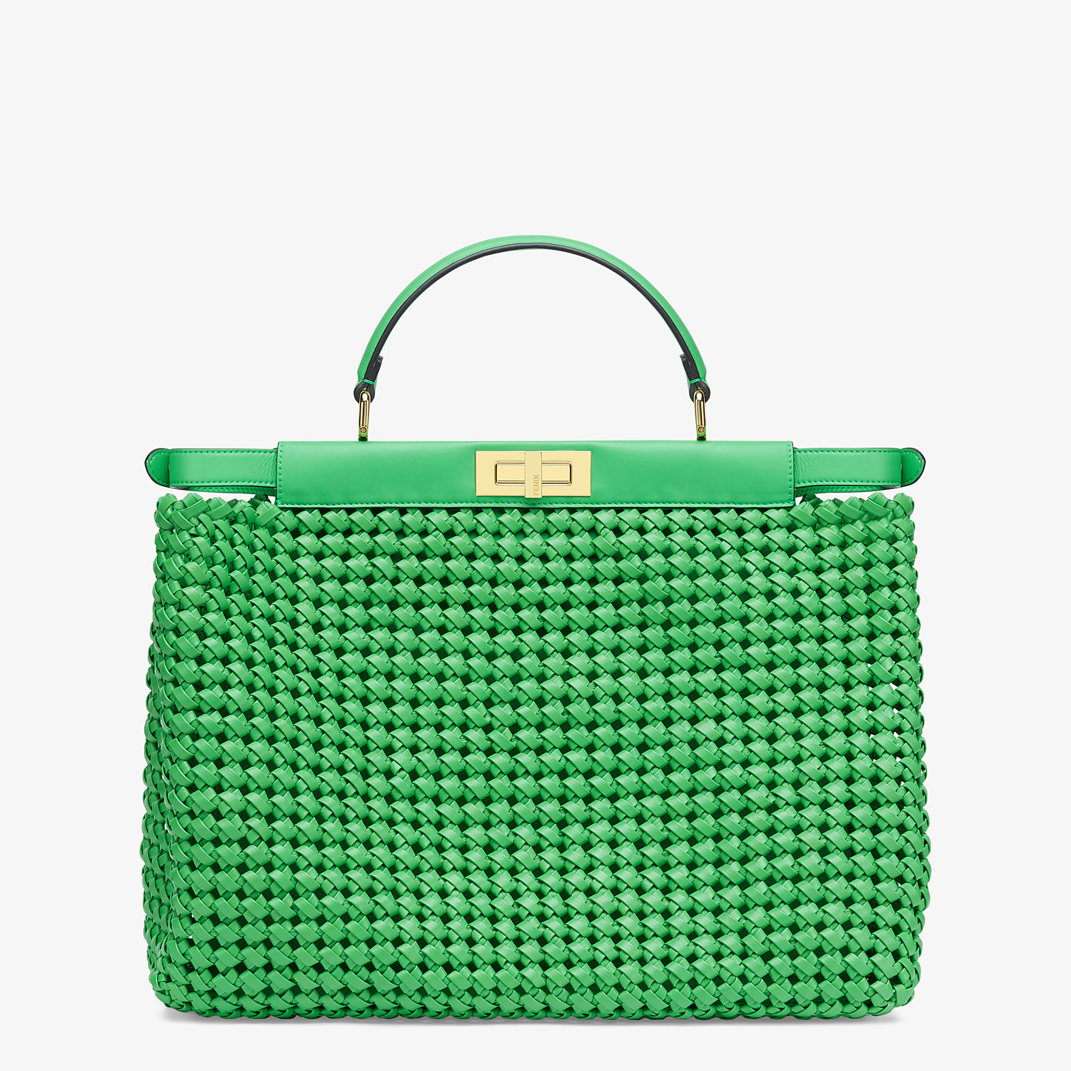 FENDI PEEKABOO ICONIC LARGE - Green leather interlace bag - view 4 detail