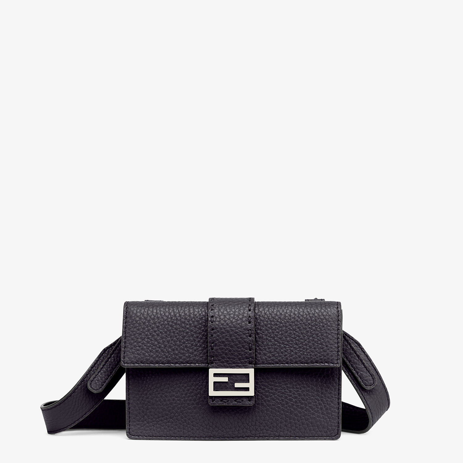 FENDI BAGUETTE POUCH - Black leather bag - view 1 detail