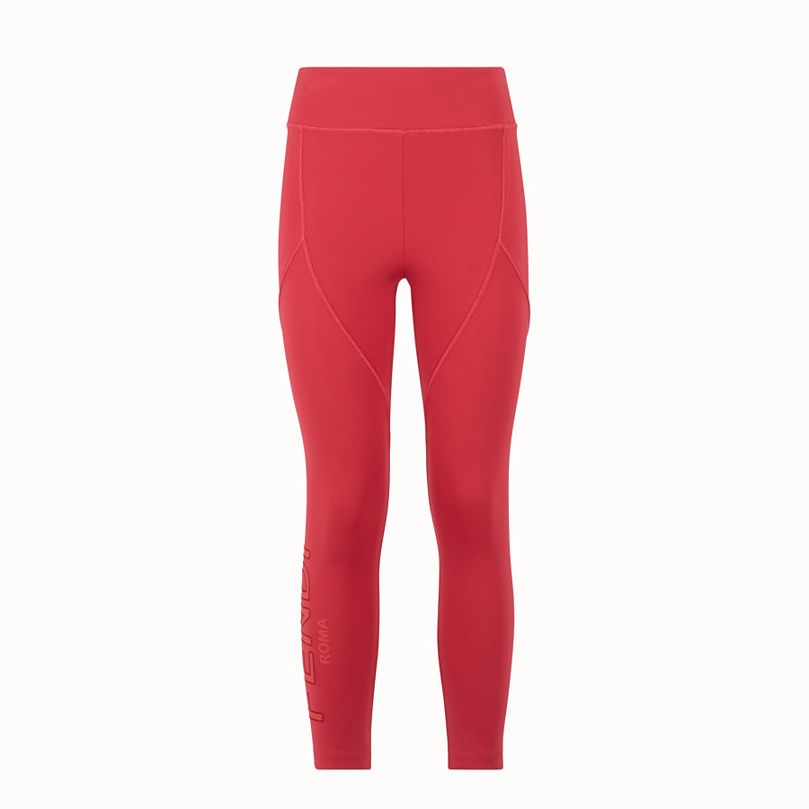FENDI LEGGINGS - Red tech fabric trousers - view 1 detail