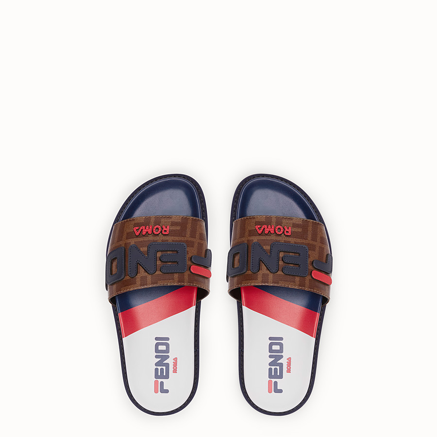 FENDI SLIDES - Multicolour fabric slides - view 4 detail